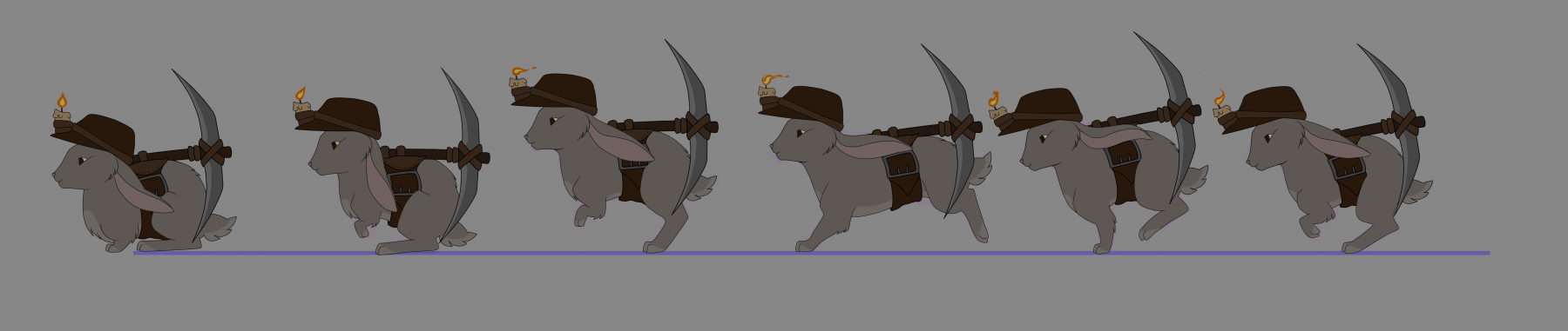 Rabbit miner hopping keyframes