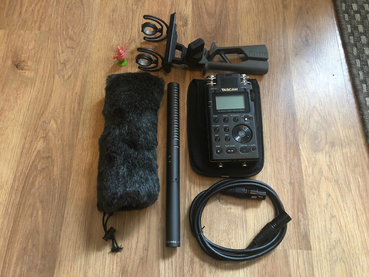Rode NTG2 shotgun microphone and Tascam MK100 field recorder used for sound recording for Trip the Ark Fantastic.