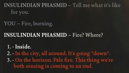 Dialogue example from Disco Elysium
