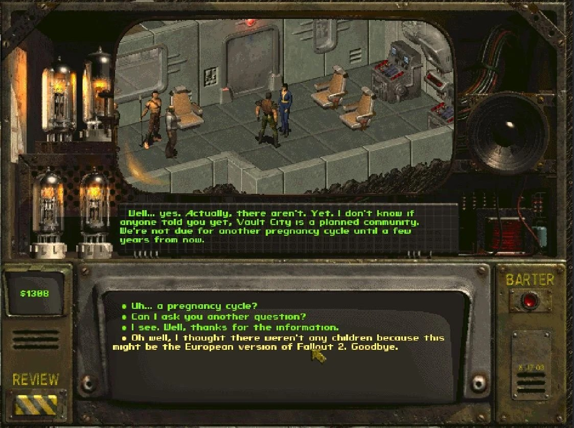 An example of dialogue from Fallout 2