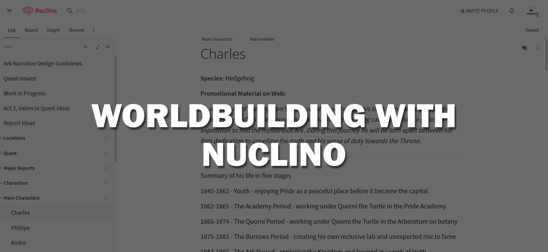 Worldbuilding with Nuclino